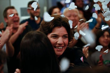 Tamar Zandberg celebrating after being chosen to be the new leader of the left-wing Meretz party on March 22.