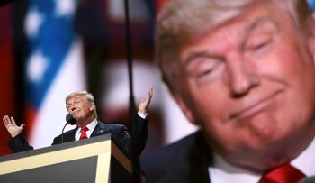 Donald Trump gestures while speaking during the Republican National Convention (RNC) in Cleveland, Ohio, U.S., on Thursday, July 21, 2016.