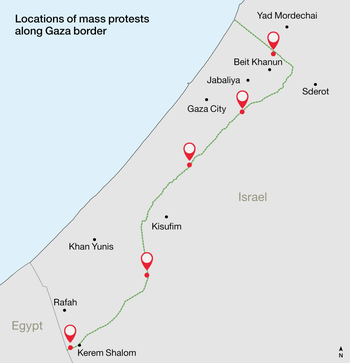 Gaza protests map.
