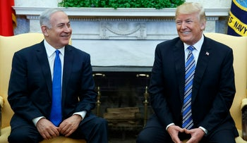 President Donald Trump meets with Israeli Prime Minister Benjamin Netanyahu in the Oval Office of the White House, Monday, March 5, 2018
