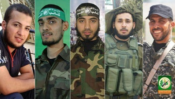 Five of the Palestinians killed in Friday's protest, who, according to Hamas, were members of the group's military wing.