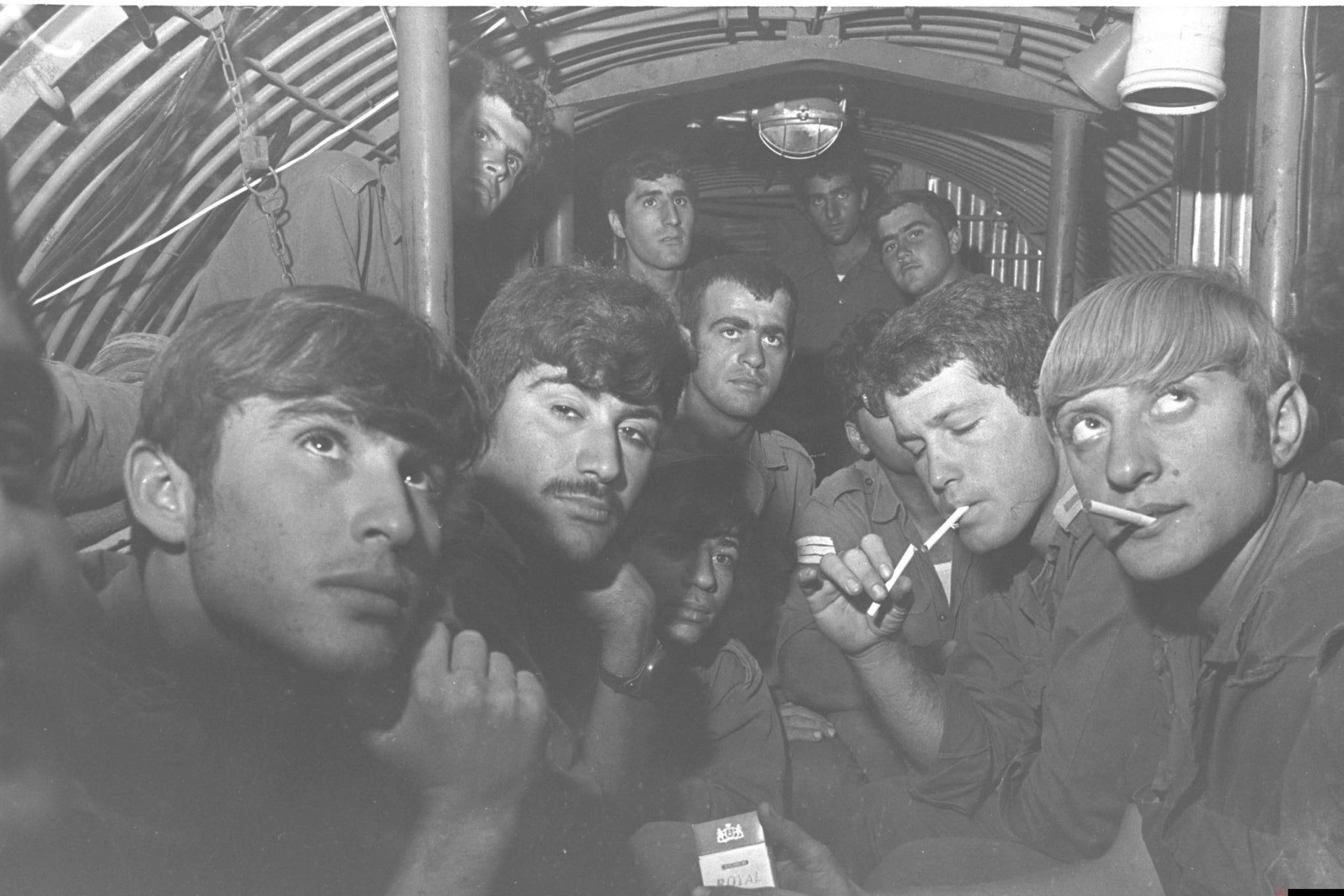 Israeli soldiers sitting in a bunker near the Suez Canal during the War of Attrition.