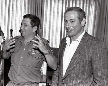 Ehud Barak and Benjamin Netanyahu in Jerusalem, July 1986.