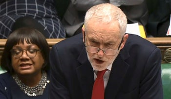 A video grab from footage broadcast by the UK Parliament's Parliamentary Recording Unit (PRU) shows Britain's opposition Labour party leader Jeremy Corbyn participating in a debate on Russia in the House of Commons in London on March 26, 2018