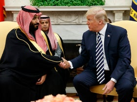 FILE PHOTO: President Donald Trump shakes hands with Saudi Crown Prince Mohammed bin Salman in the Oval Office of the White House, March 20, 2018, in Washington.