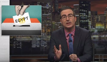 Image from the latest episode of 'Last Week Tonight,' in which host John Oliver jokes about Egypt's presidential election