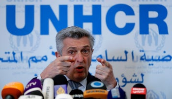 Filippo Grandi, UN High Commissioner for Refugees, speaks during a press conference in Beirut, Lebanon, March 9, 2018.