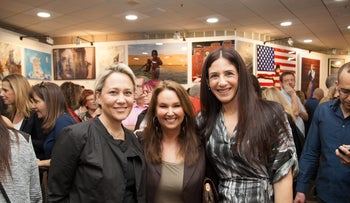 FILE PHOTO: From left: Lilach Asher-Topilsky, Shari Arison and Efrat Peled at an art exhibition, February 2, 2014.