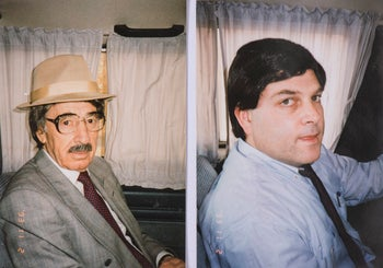 Peres and Gil, disguised, on a secret visit to Jordan, 1993