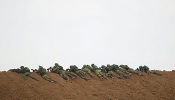 Israeli soldiers on the border with the Gaza Strip, March 30, 2018.