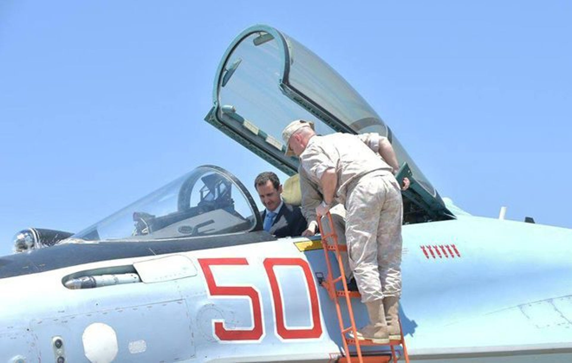 Syrian President Bashar Assad visits a Russian air base at Hmeymim, in western Syria in this handout picture posted on SANA on June 27, 2017.