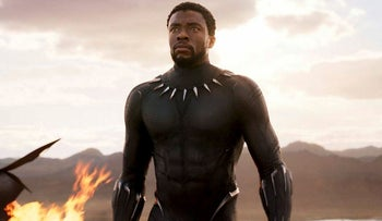 """This file image released by Disney and Marvel Studios' shows Chadwick Boseman in a scene from """"Black Panther."""""""