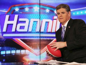 "Host Sean Hannity on set of FOX's ""Hannity With Sean Hannity"" at FOX Studios on April 21, 2014 in New York City"