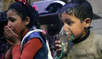 A child receiving oxygen following an alleged chemical attack in the rebel-held town of Douma, Syria, April 8, 2018.