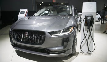 The Jaguar Land Rover Automotive electric vehicle displayed at the New York International Auto Show, March 29, 2018