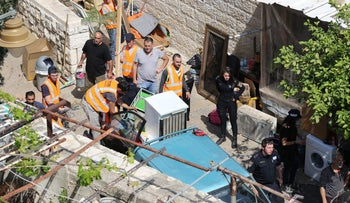 The evacuation of a Palestinian family in Silwan, April 8, 2018.