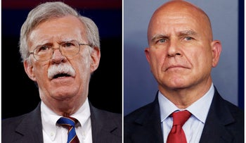 FILE PHOTO: Former U.S. Ambassador to the United Nations John Bolton, February 24, 2017, and White House National Security Advisor H.R. McMaster, July 31, 2017.