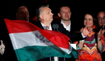 Hungarian Prime Minister Viktor Orban addressing supporters following his parliamentary election victory, Budapest, April 8, 2018.