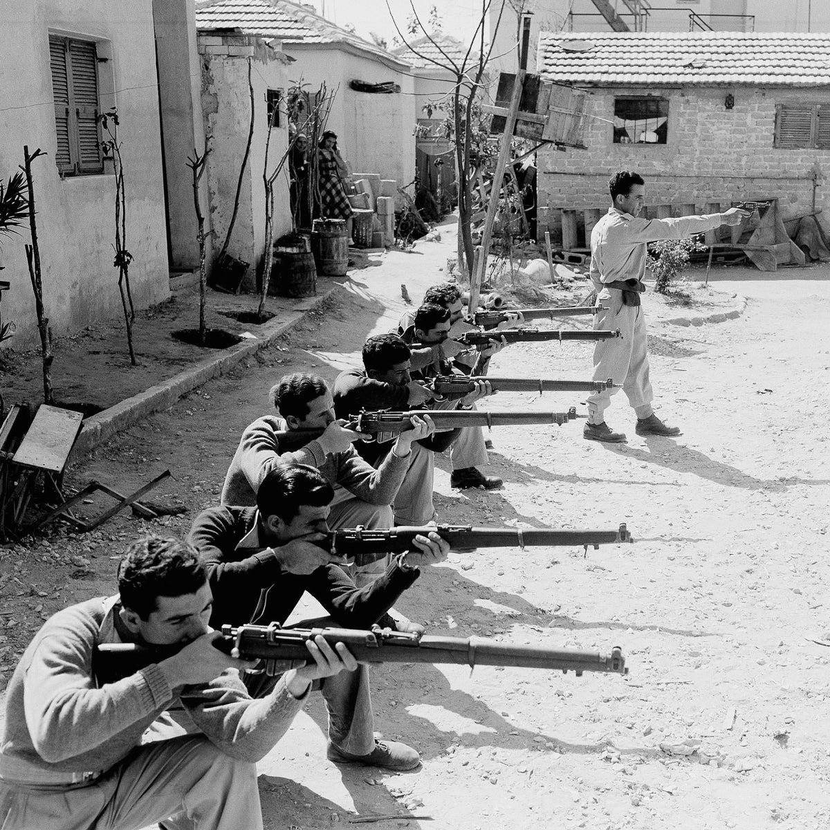 Members of the Irgun receiving training near the Jaffa-Tel Aviv border, two months before the War of Independence started in May 1948.