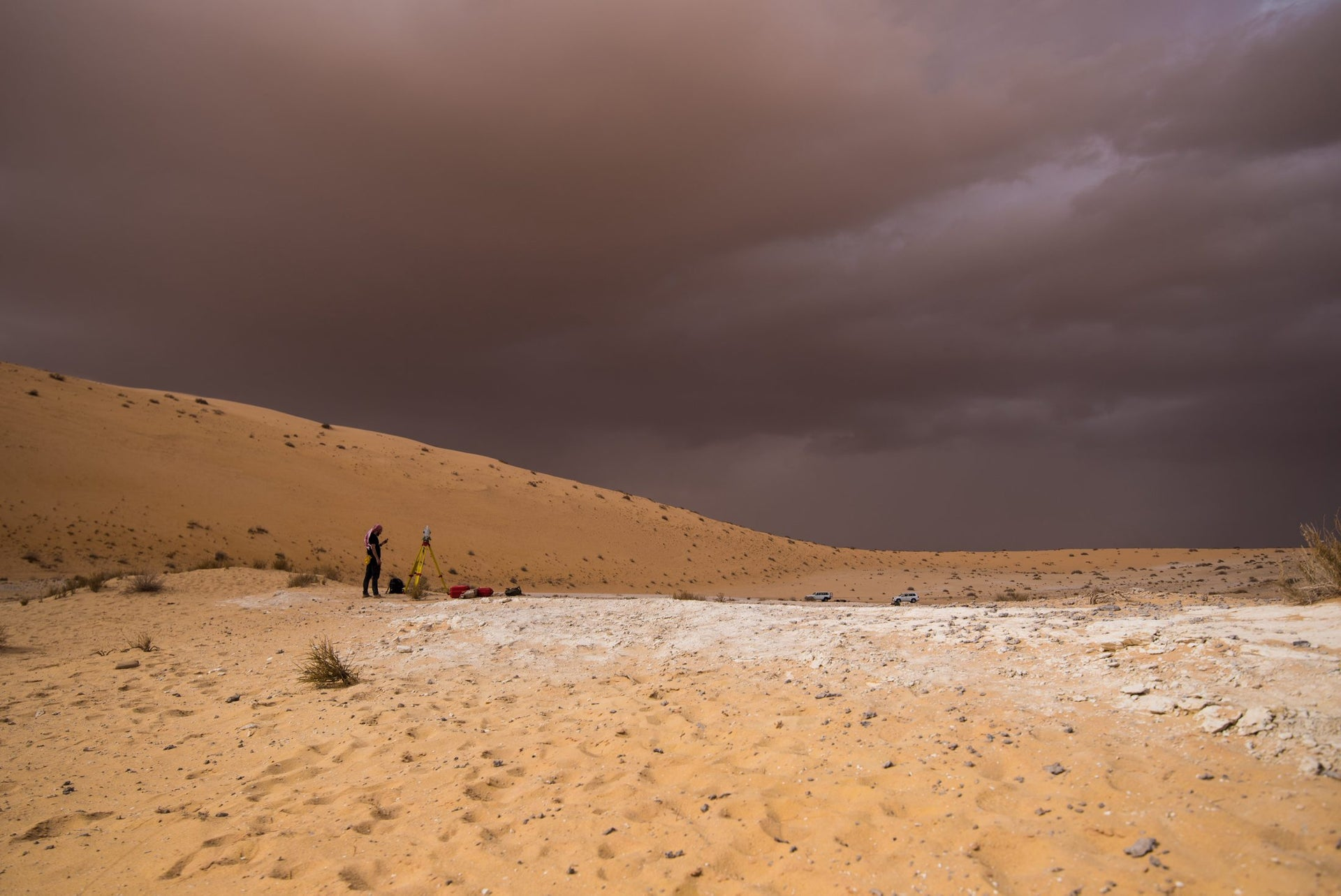 While surveying and mapping the Al Wusta site during the excavation, al-Nefud desert, Saudi Arabia