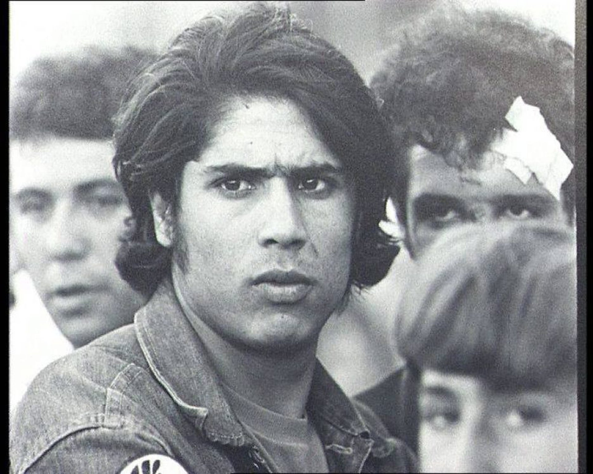 Saadia Marciano, one of the founders of the Israeli Black Panthers, at a demonstration in Davidka Square, Jerusalem, 1972.