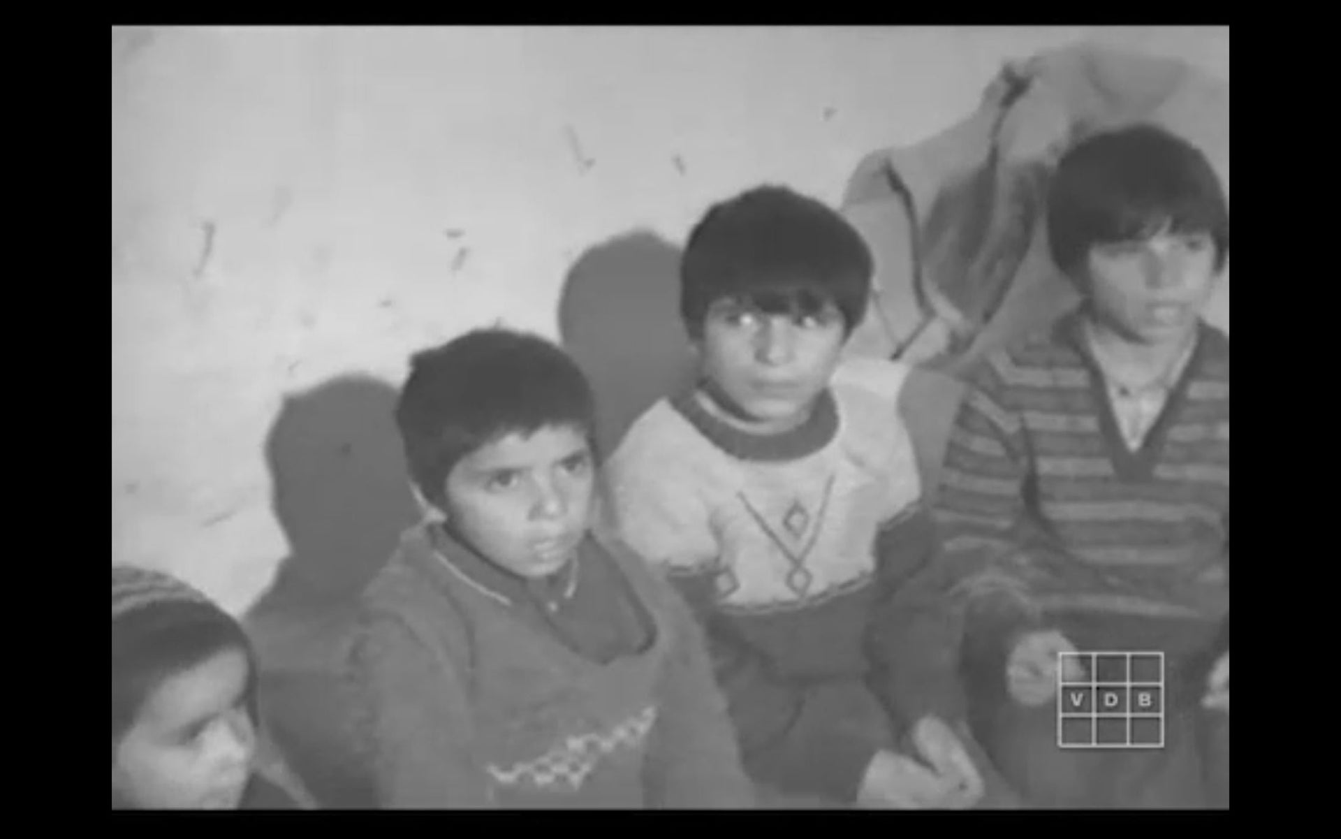 Screenshot of some of Aisha's children being interviewed by David Cort in their Jerusalem home, January 1972.