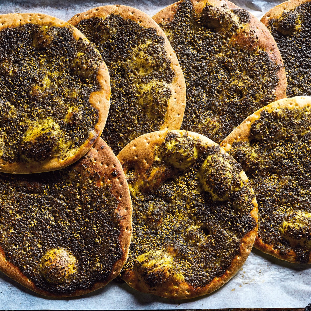Manakish with olive oil and za'atar.