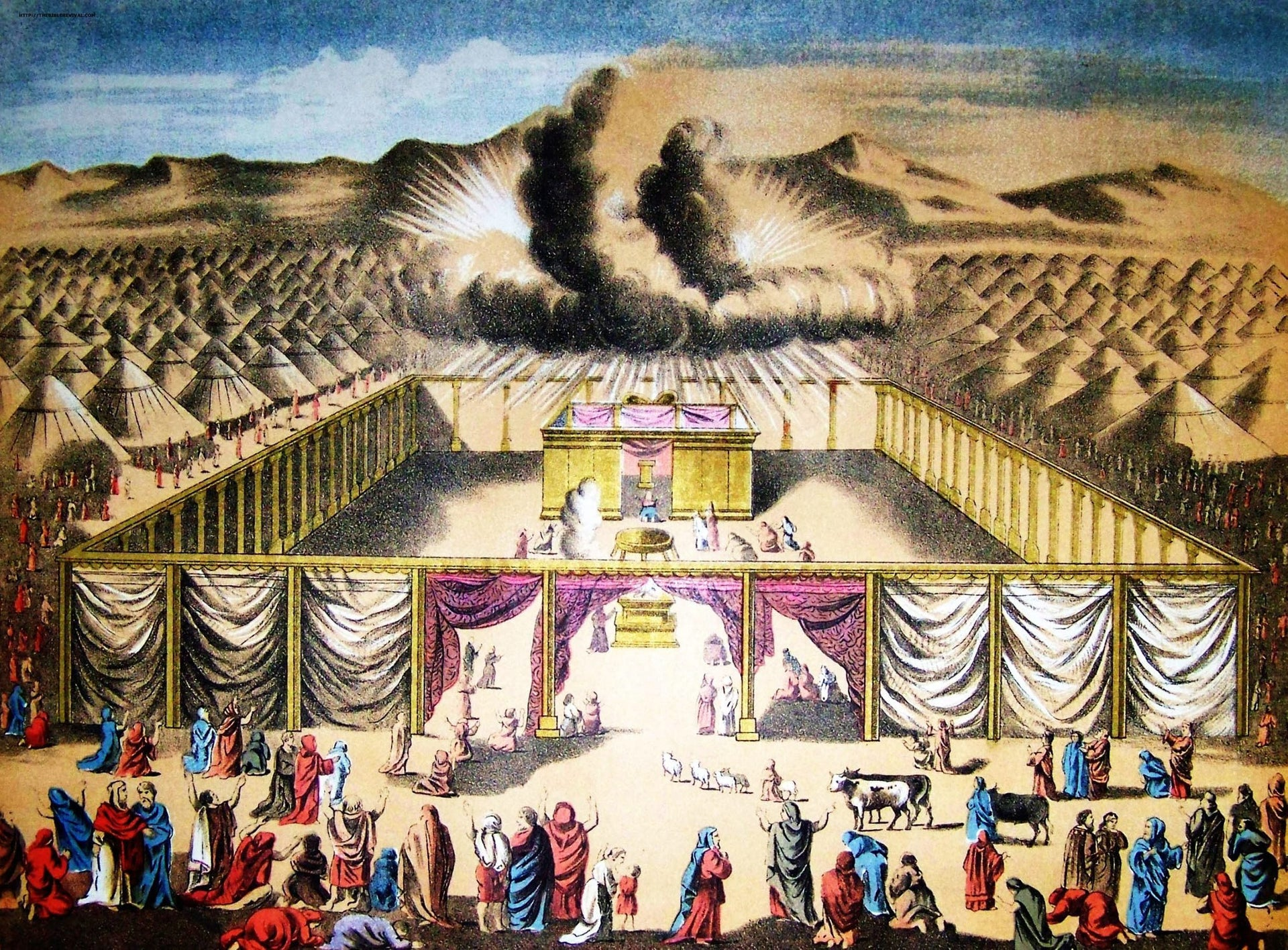 An 1890 illustration of the Tabernacle, with the presence of Yahweh signalled by a cloud of dark smoke.