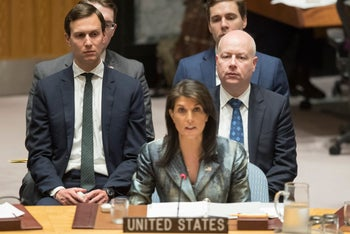 Jared Kushner and Jason Greenblatt listen as American Ambassador to the United Nations Nikki Haley speaks during a Security Council meeting on the situation in Israel and the Palestine territories on February 20, 2018.