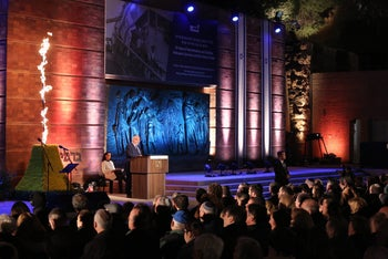 President Reuven Rivlin speaking at a Holocaust memorial event in Jerusalem on April 11, 2018.