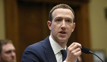 Facebook CEO and founder Mark Zuckerberg testifies in a hearing about Facebook in Washington, DC, April 11, 2018