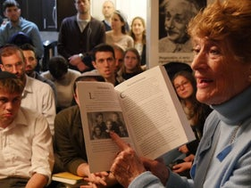 Holocaust survivor Rachel Roth recounting her wartime memories for a Memories in the Living Room event in New York, April 11, 2018.