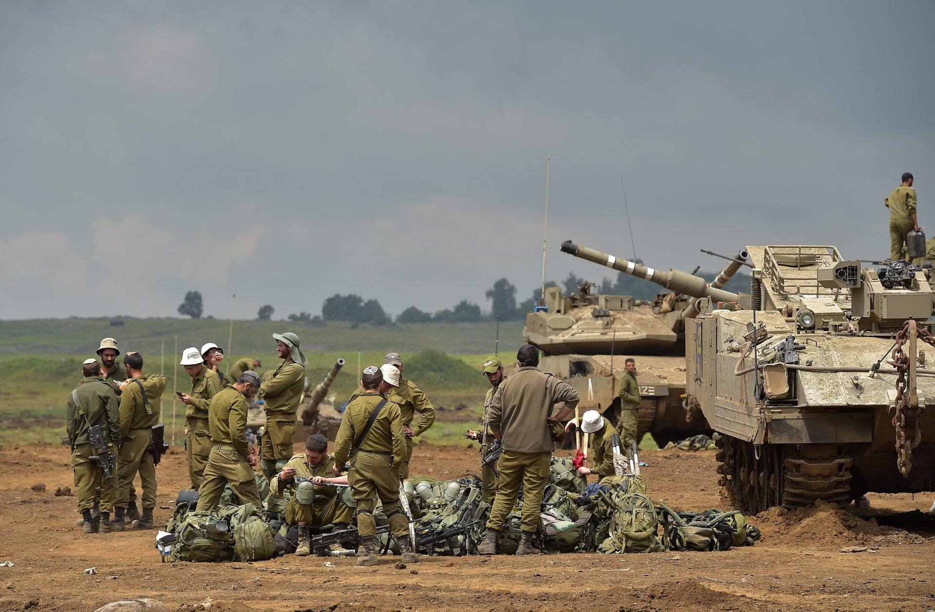 Israeli forces in the Golan Heights, April 4, 2018