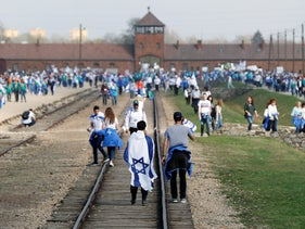 People take part in the annual March of the Living, Oswiecim, Poland, April 12, 2018.
