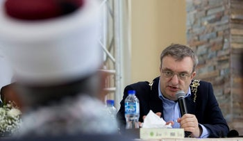 Dublin Mayor Micheal Mac Donncha speaks in a conference in the West Bank city of Ramallah, Wednesday, April 11, 2018. Israeli authorities are investigating how Donncha arrived in the country despite instructions to bar his entry. (AP Photo/Majdi Mohammed)