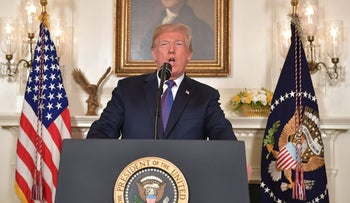 US President Donald Trump addresses the nation on the situation in Syria April 13, 2018 at the White House in Washington, DC