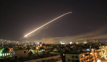 Missiles in the skies of Damascus, April 14, 2018.
