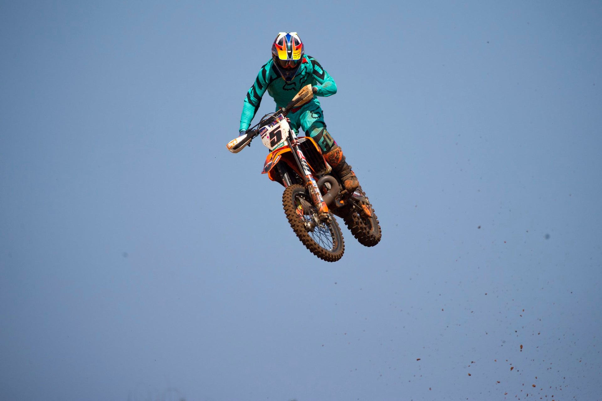 A rider competes during Israel's motocross championship in the MX Wingate cross country race track near Netanya, Israel, Saturday, April 14, 2018.