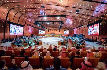 A general view of the 29th Arab League Summit in Dhahran, Saudi Arabia, April 15, 2018.