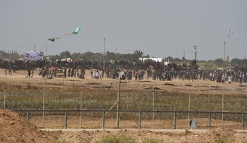 A kite with a molotov cocktail attached to it is released near the border with Gaza.