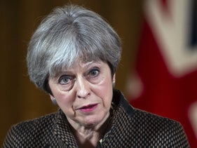 U.K. Prime Minister Theresa May speaks during a news conference at number 10 Downing Street following air strikes in Syria, in London April 14, 2018.