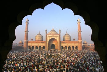 Devotees pray at the Jama Masjid mosque in New Delhi, India, celebrating Eid al-Adha. Jan. 11, 2006