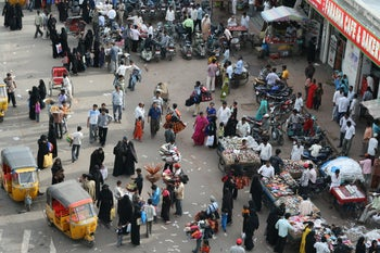 Muslim women in Hyderabad, India. September 2007, some wearing a Saudi-influenced black hijab or niqab
