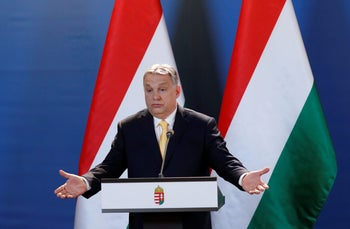Hungarian Prime Minister Viktor Orban during a press conference in Budapest, April 10, 2018.