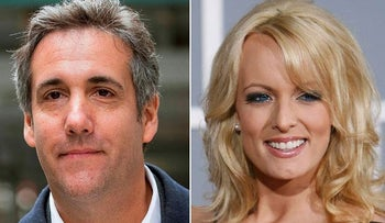 This combination photo shows attorney Michael Cohen and adult film actress Stormy Daniels. Cohen has been ordered to appea in federal court in New York, Monday, April 16, 2018, for arguments over last week's raid of his home and office.