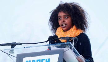 "11-year-old student Naomi Wadler speaks at the ""March for Our Lives"" event demanding gun control after recent school shootings at a rally in Washington, U.S., March 24, 2018."