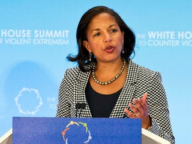 National Security Adviser Susan Rice speaks during the closing session of the Countering Violent Extremism (CVE) Summit, Thursday, Feb. 19, 2015, at the State Department in Washington. The White House is conveying a three-day summit to bring together local, federal, and international leaders to discuss steps the US and its partners can take to develop community-oriented approaches to counter extremist ideologies that radicalize, recruit and incite to violence. (AP Photo/Jacquelyn Martin) סוזאן רייס