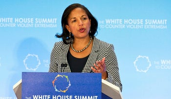 National Security Adviser Susan Rice speaks during the closing session of the Countering Violent Extremism (CVE) Summit, Thursday, Feb. 19, 2015, at the State Department in Washington. The White House is conveying a three-day summit to bring together local, federal, and international leaders to discuss steps the US and its partners can take to develop community-oriented approaches to counter extremist ideologies that radicalize, recruit and incite to violence. (AP Photo/Jacquelyn Martin)