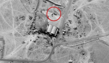 Aerial photo of Deir al-Zor air base with Iranian drones.