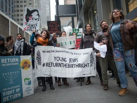 Protesters from Jewish Voice for Peace outside the Birthright gala event in New York, April 15, 2018.